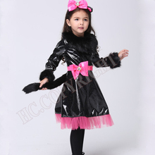 Catwoman Cosplay Costumes Halloween Christmas Party Performance Cute Kids Girls Cat Kitty Princess Dress Clothes