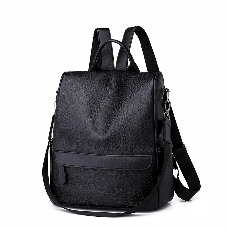 New Women Backpack PU Leather Black Bagpack large capacity Travel Bag Female Rucksack Shoulder bag Bolsas Mochila H54 in Backpacks from Luggage Bags