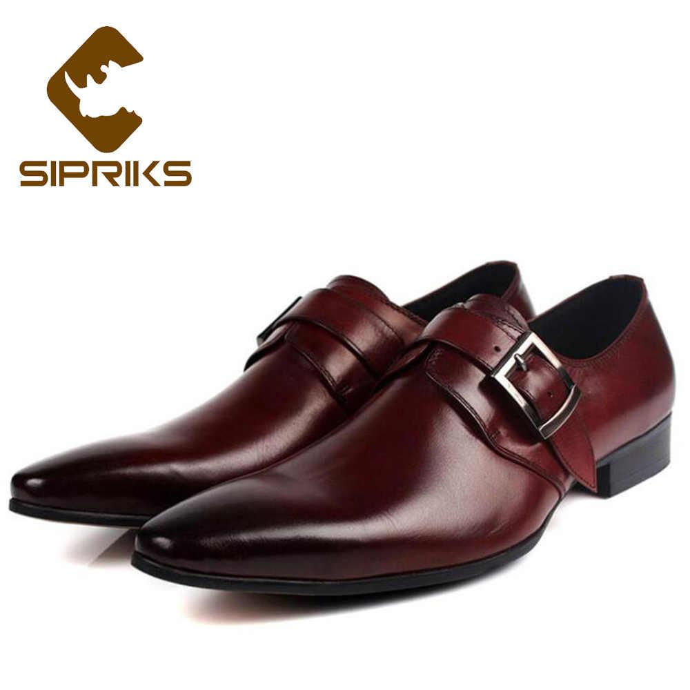 Sipriks Single Monk Strap Shoes For Men Fashion Black Social Shoes Genuine  Leather Red Brown Dress dbea85a5df6f