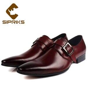 Мужские туфли-смокинги Sipriks, черные туфли на ремешке с пряжкой из натуральной кожи красного и коричневого цвета