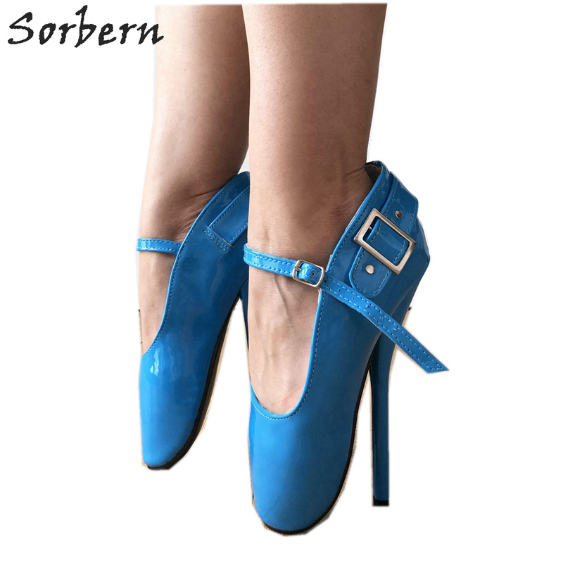 Sorbern Blue Mary Janes Ballet High Heels Pump Shoes Women Stilettos Buckles Sexy Fetish Sm Shoes