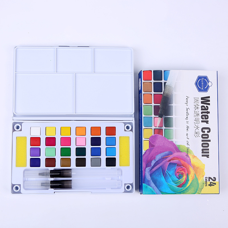 12/18/24/36Color Solid Water Color Painting Set Box With Water Brush Bright Color Portable Watercolor Pigment Set Art Supplies