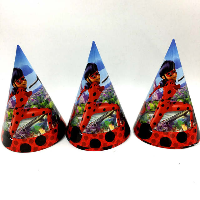 6pcs Ladybug Birthday Party Hats Kids Supplies Caps Decoration Paper