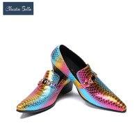 Кристиа Белла модные деловые мужские модельные туфли из натуральной кожи с острым носком Свадебная формальная обувь туфли на высоком каблу...