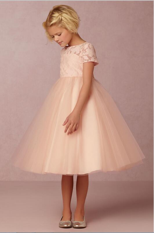 2016 ball gown champagne   flower     girls     dress   with short sleeve jewel princess party   dresses   for wedding kids prom   dresses