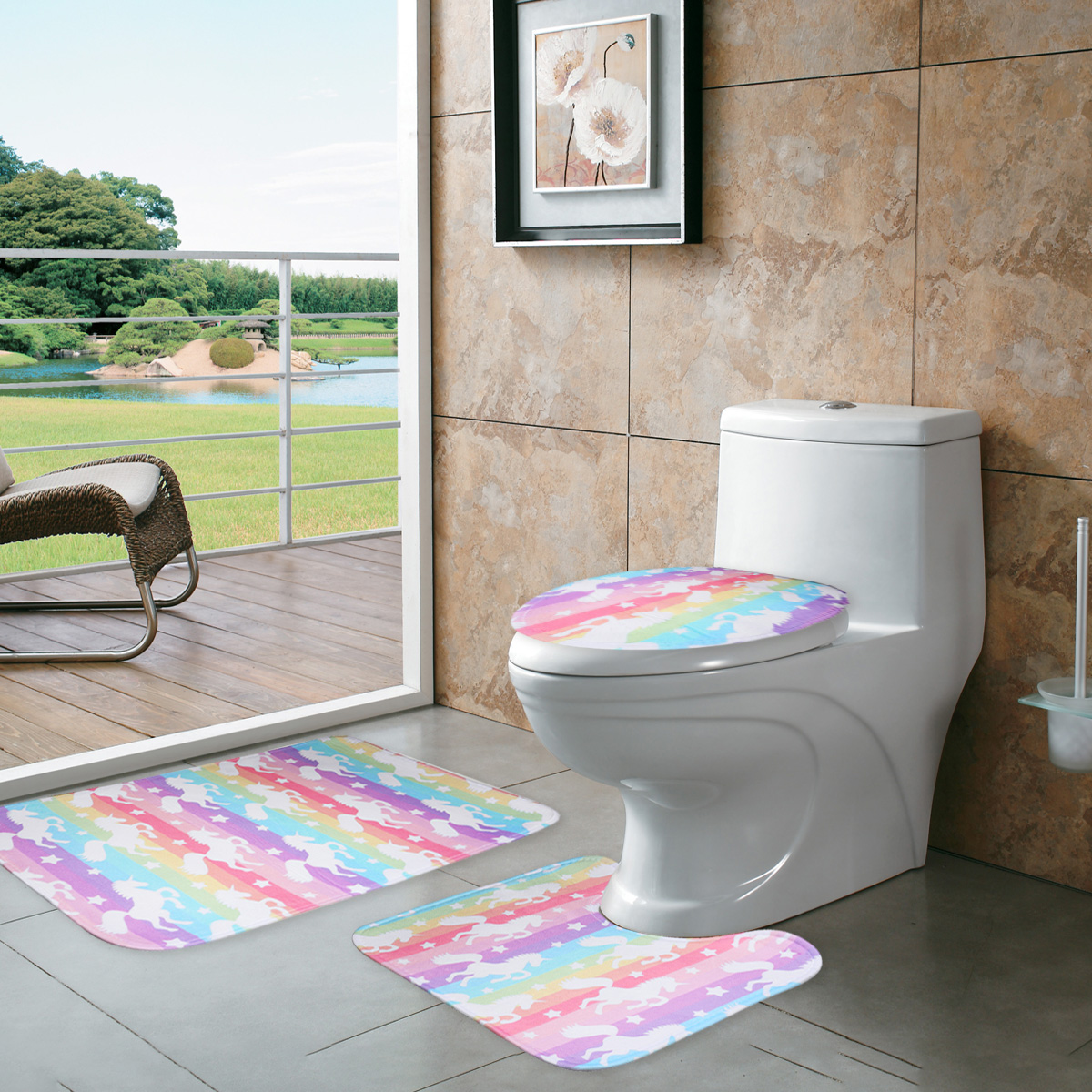 3Pcs Set Anti-Slip Bathroom Pedestal Rug + Lid Toilet Cover + Bath Mat Non-Slip Pedestal Rug Lid Toilet Cover Bath Mat ...