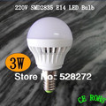 10pcs/lot 3W e14 led bulb 2835SMD AC220V 230V 240V Cold white/warm white led e14 candle