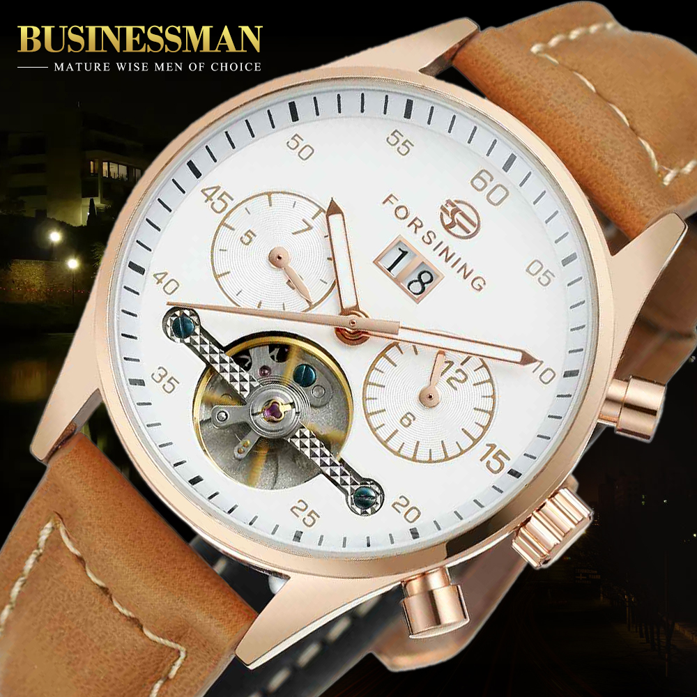 Forsining British  Style High Grade Suede Strap Mens Watches Luxury Tourbillion Automatic Watch Clock Men Relogio masculino forsining automatic tourbillon men watch roman numerals with diamonds mechanical watches relogio automatico masculino mens clock