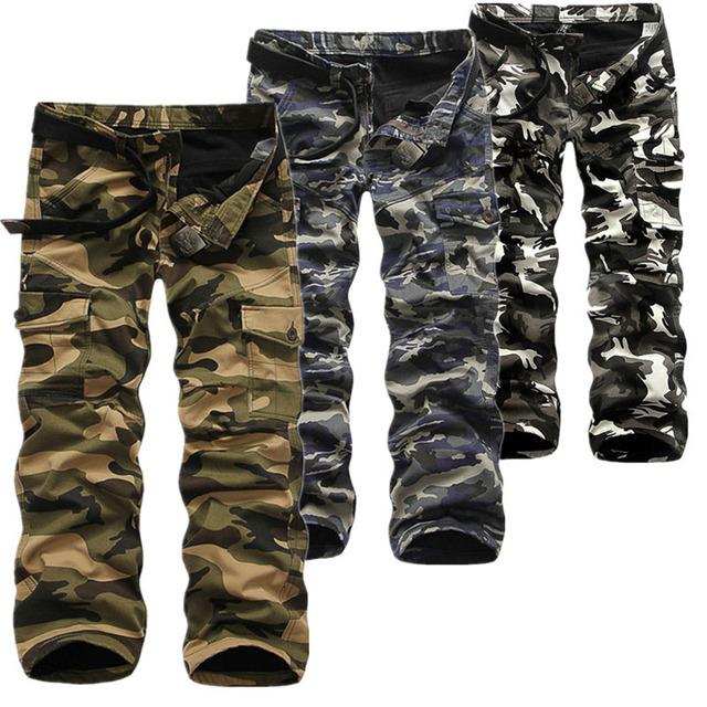 2017 Nueva Marca Hombre Militar Del Ejército de Carga Pantalones, Además de Terciopelo Pantalones de Los Guardapolvos Ocasionales Baggy Versión Coreana Pantalones de Camuflaje Hombres OFY