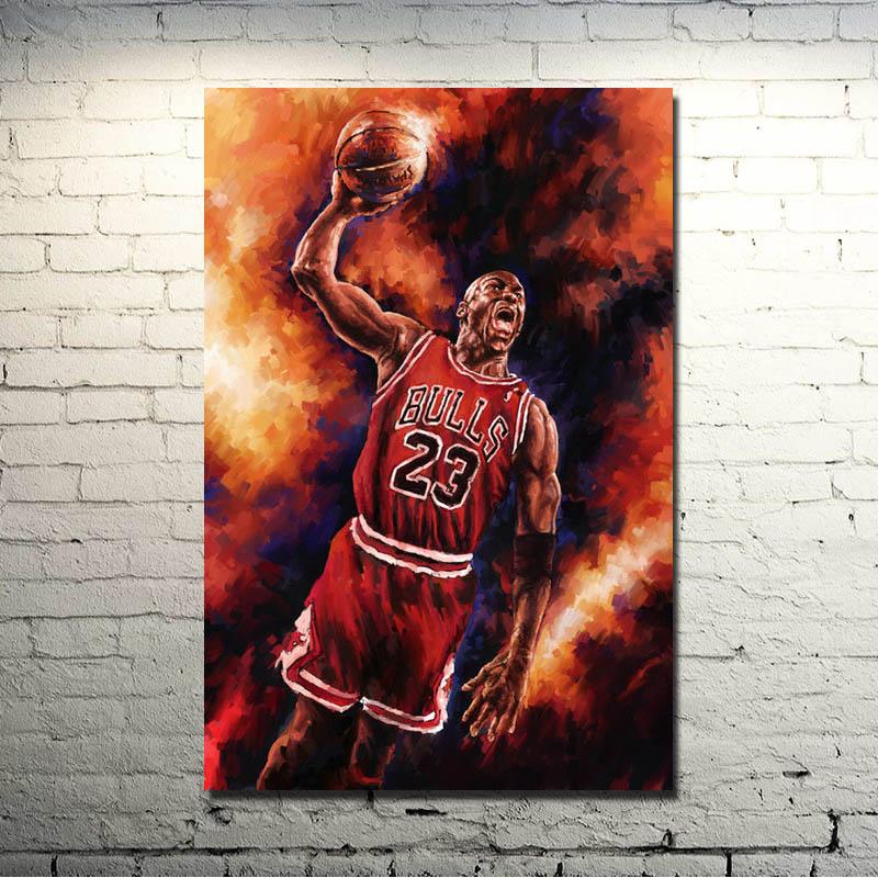 Michael Jordan Dunks Basketball Sports Art Silk Poster 13x20 20x30 24x36 inch 19