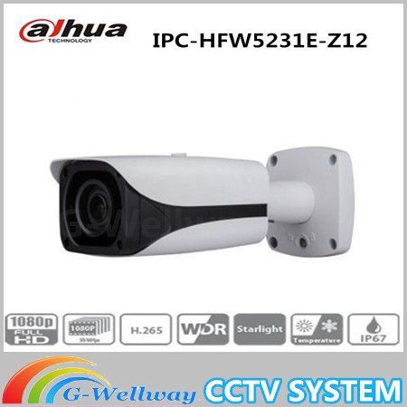 Dahua 2MP IPC-HFW5231E-Z12 Bullet Camera WDR POE IP67 5.3mm ~64mm 12x zoom lens Network IR Starlight Security Camera
