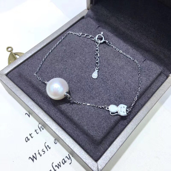 Cute Cat 925 Silver Bracelet Settings Findings Mountings Women Accessories Parts Bangle for Akoya Edison Pearls Jade Coral Beads