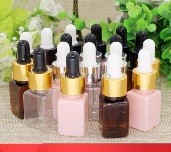 10ML 30pcs 50pcs Plastic Square Cosmetic Essence Package, Women Beauty Essential Oil Bottle, Cosmetic Refillable Containers