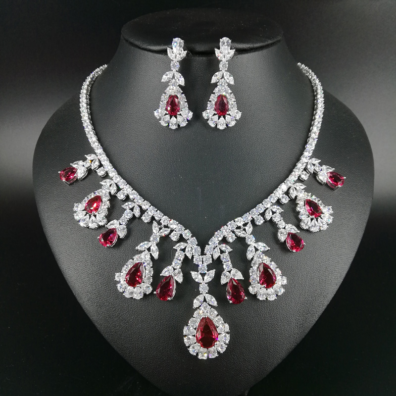 2019 new fashion classic red water drop zircon necklace earring set wedding bride banquet dinner formal jewelry free shipping2019 new fashion classic red water drop zircon necklace earring set wedding bride banquet dinner formal jewelry free shipping
