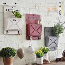Metal Rural retro wooden decorative box wall hanging frame Home Furnishing room key storage box