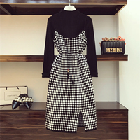 2018 Vintage Knit Suit Girls Ladies Simple Black Sweater + Plaid Forked Halter Dress Autumn Winter Two piece Dress Sets for Mom