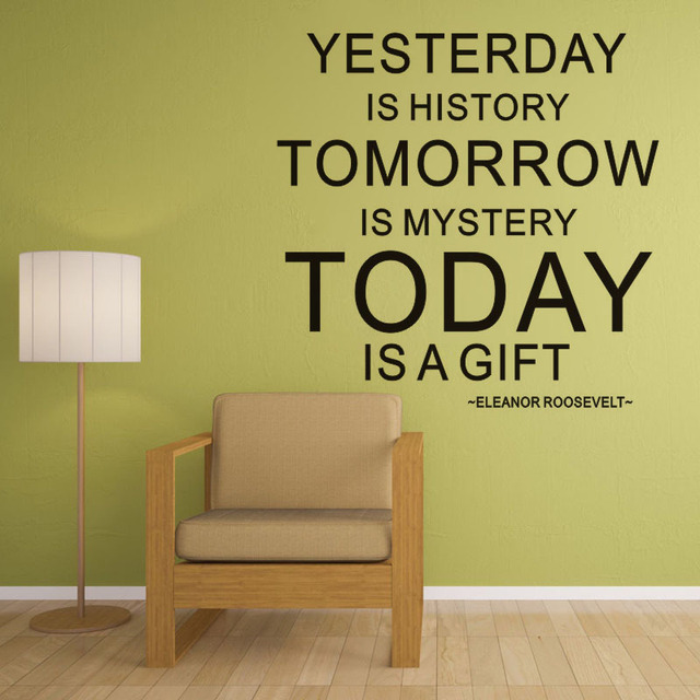 Yesterday Is History Vinyl Wall Decal Home Decor Quotes Living Room Bedroom  Diy Art Mural Removable