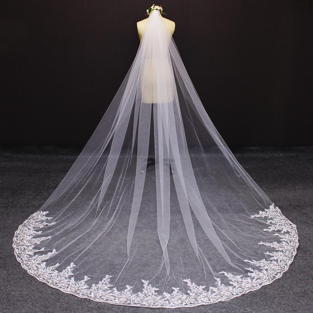 Long Wedding Veil With Comb 3M Cathedral Bridal Veil With Sequined Lace Appliques Metal Comb Voile Mariage 2019