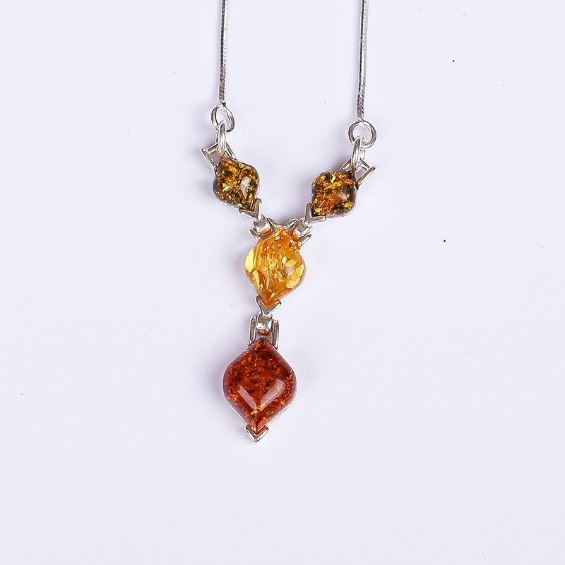 amber pendant genuine fashion female 925 sterling silver mosaic distribution water droplets clavicle necklace factory direct centurion backfire 50 26 2016