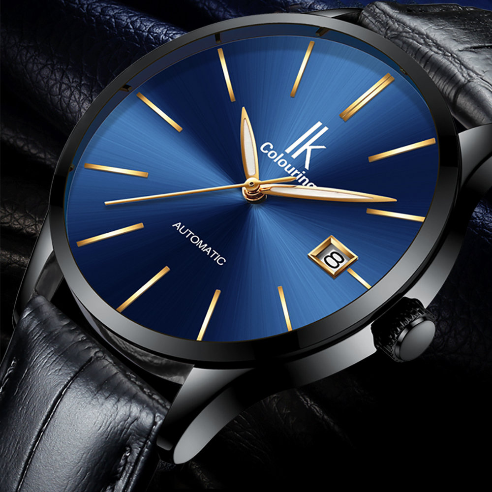 IK Colouring Brand Automatic Mechanical Wristwatch for Men Auto Date Luxury Male Clock Genuine Leather Strap Mens Dress WatchesIK Colouring Brand Automatic Mechanical Wristwatch for Men Auto Date Luxury Male Clock Genuine Leather Strap Mens Dress Watches