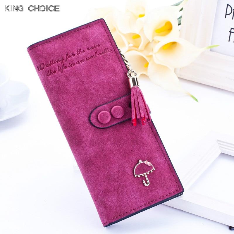 2018 luxury brand designer long hasp women wallet clutch leather tassel zipper purse wit ...