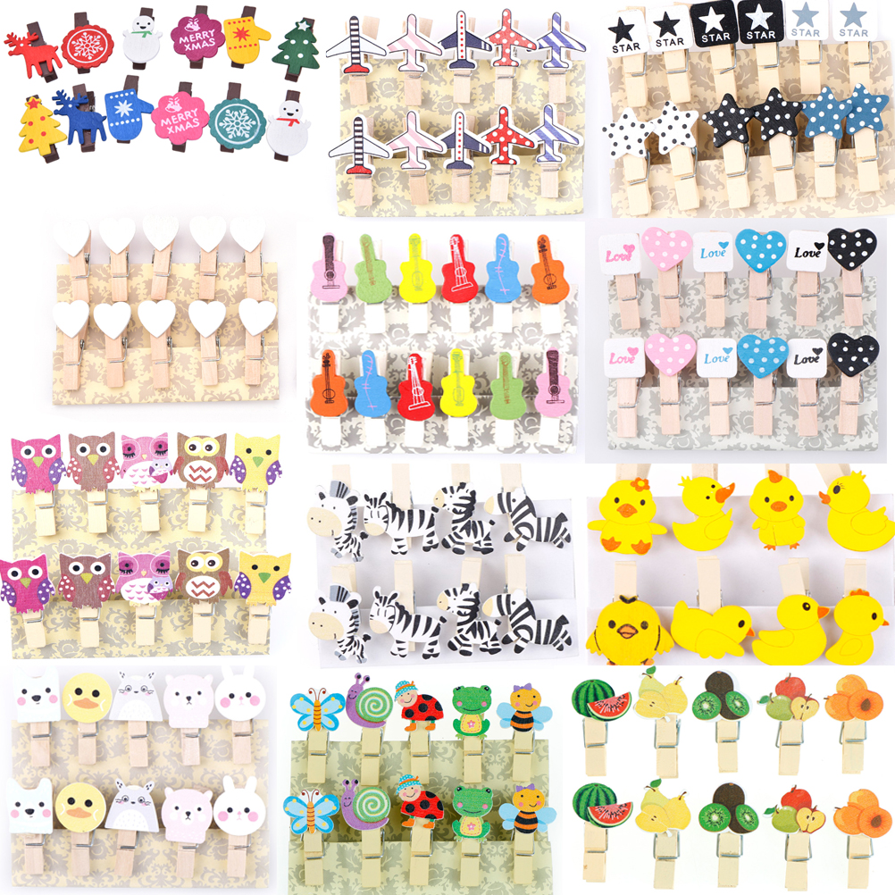 8/10/12 Pcs  Christmas Decor Cute Anmal Groom Bride Natural Wooden Clips For Photo Clips Clothespin Craft Decoration Clips Pegs