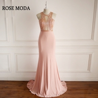 Rose Moda Pink Mermaid Prom Dresses 2018 Cross Back Crystal Long Formal Prom Dress Real Photos
