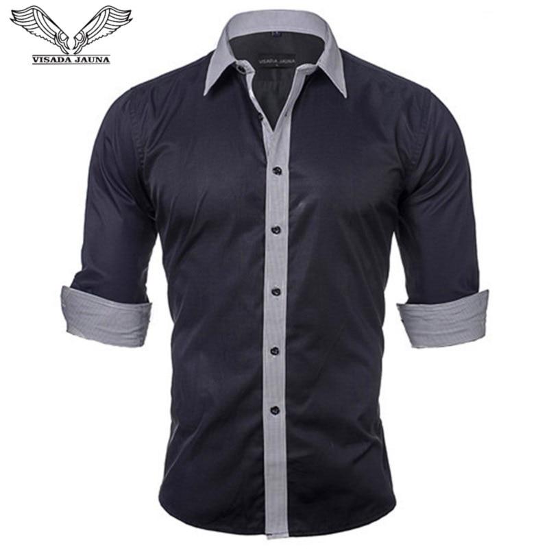 VISADA JAUNA Europa Tamaño Camisas para hombre Novedades Color sólido Parcheado Marca Casual Ropa Slim Fit Algodón Hombre Camisa N531
