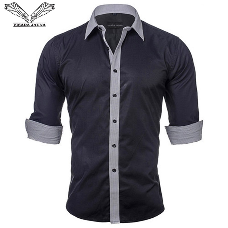 VISADA JAUNA Europe Storlek Herrtröjor Nyankomst Solid färg Patched Casual Märke Kläder Slim Fit Cotton Man Shirt N531