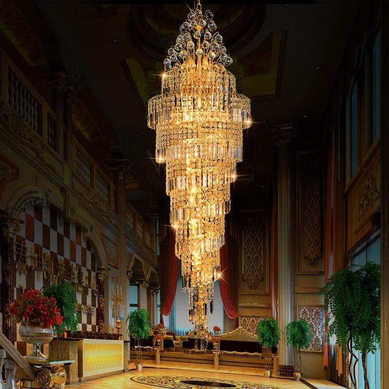 Luxury Large K9 Gold Crystal Chandeliers Modern Led Chandelier Lighting Lustre Living Room Hotel Engineering Stairs
