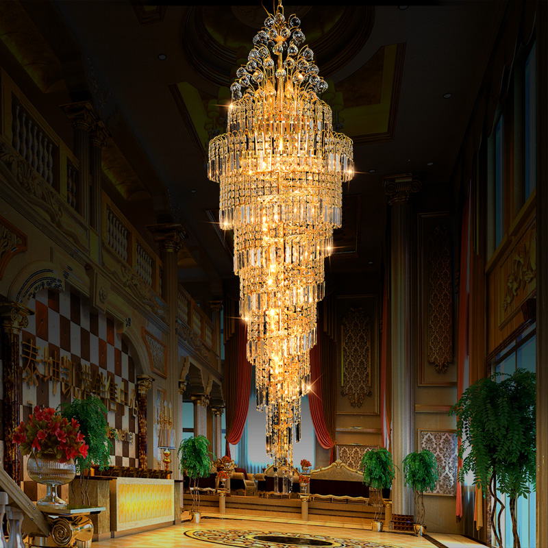 Luxury Large K9 Gold Crystal Chandeliers Modern Led Chandelier <font><b>Lighting</b></font> Lustre Living Room Hotel Engineering Stairs