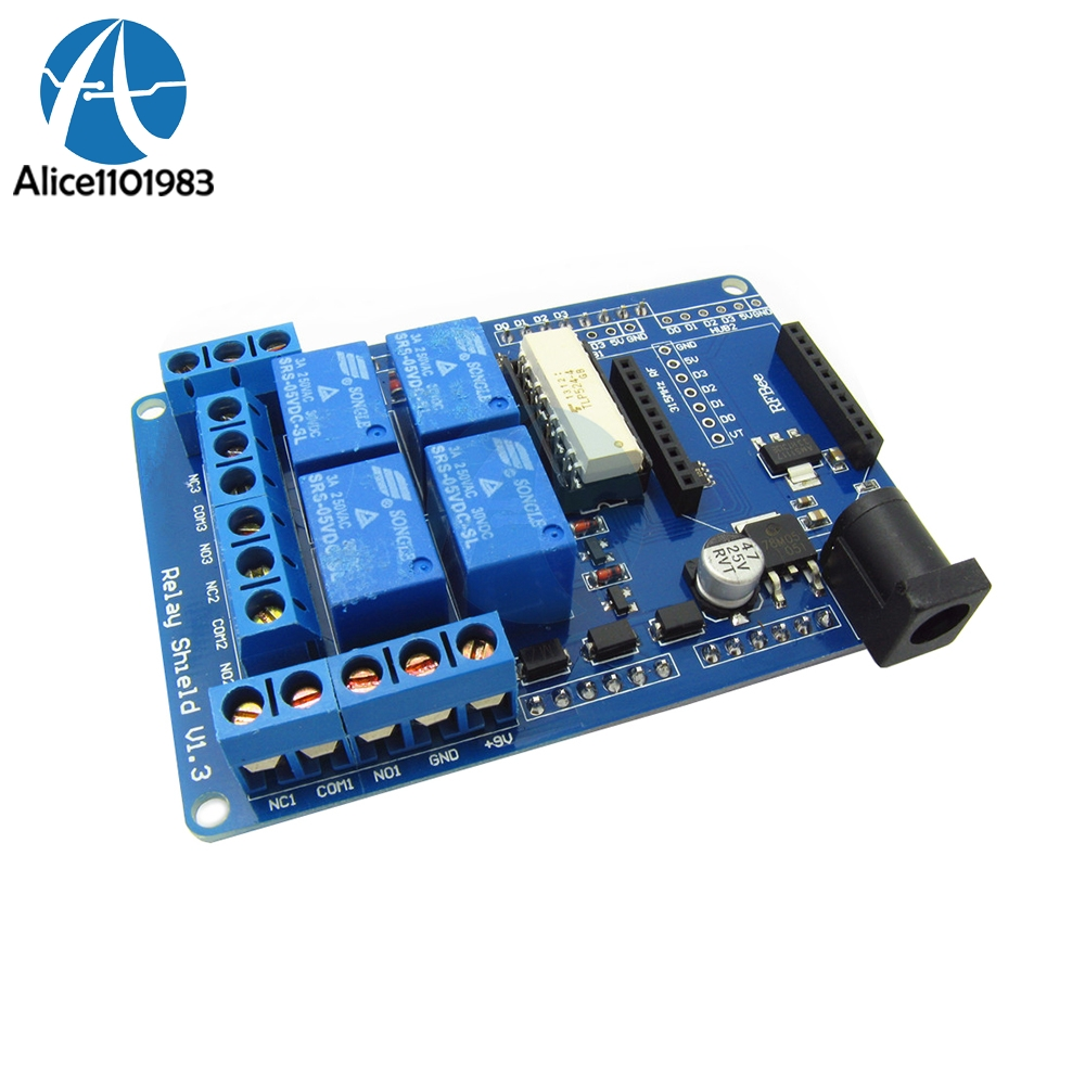 4CH 4 Channel 5V Relay Module Extension Board Shield V1.3 Compatible For Arduino UNO Nano R3 Xbee 3154CH 4 Channel 5V Relay Module Extension Board Shield V1.3 Compatible For Arduino UNO Nano R3 Xbee 315