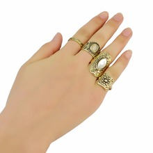 4 Pcs/set Bohemia Retro Silver Gold Brown Fashion Nail Joint Ring Gem Carved Flower Finger Rings For Women Jewelry Free Shipping stylish 5 pcs set faux gem embossed rose rings for women
