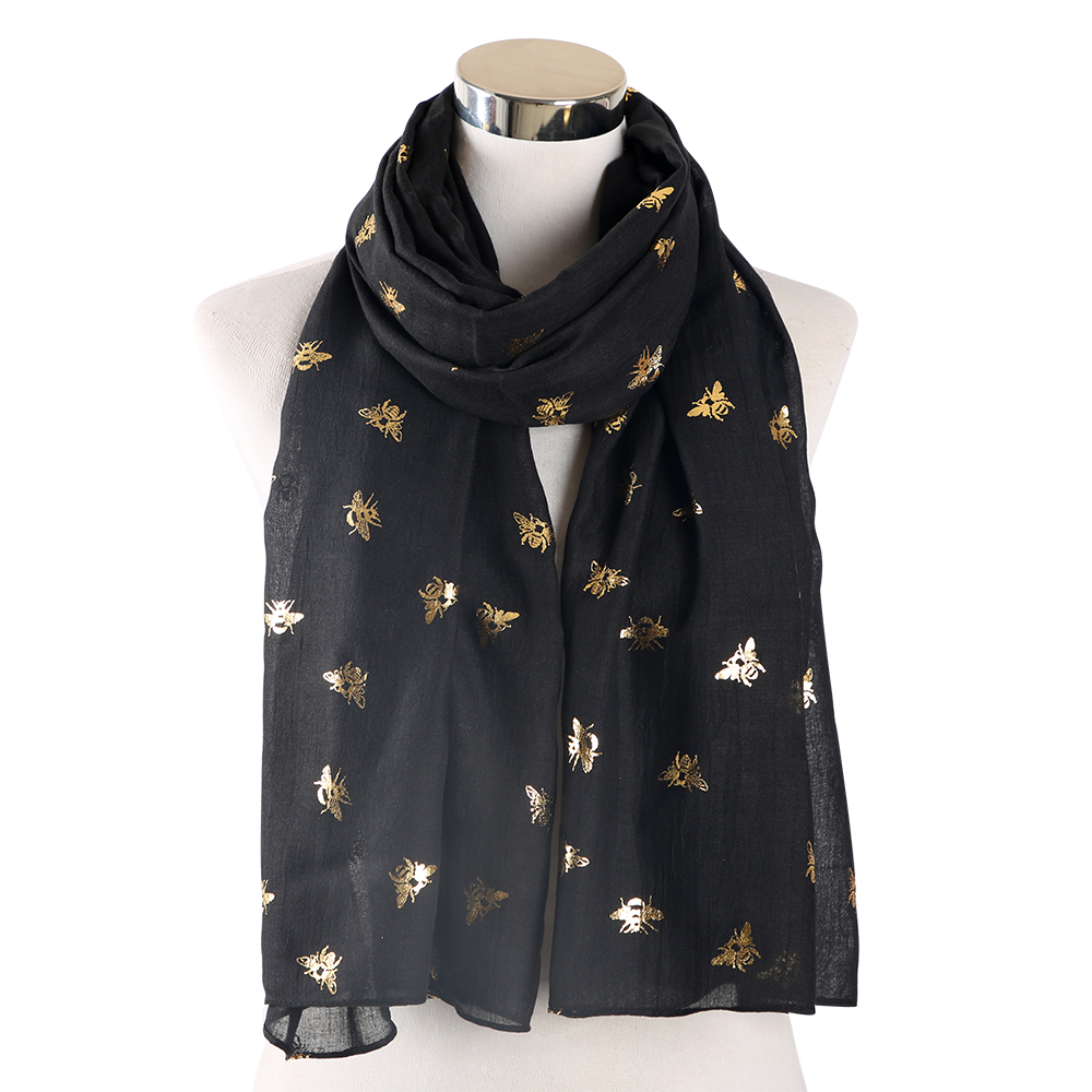 Winfox Fashion Black Red Foil Bronzing Gold Bee Scarf Shawls Glitter Female Foulard Bufanda For Womens Ladies