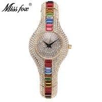2019 hot sale diamond multicolor top luxury full diamond fashion watch European high end women's swatch bayan saat