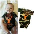 Hot Moda Infantil Roupas de Bebê Menino Dos Desenhos Animados Carta Verão Roupa Criança Camuflagem Bodysuit Bonito One-pieces