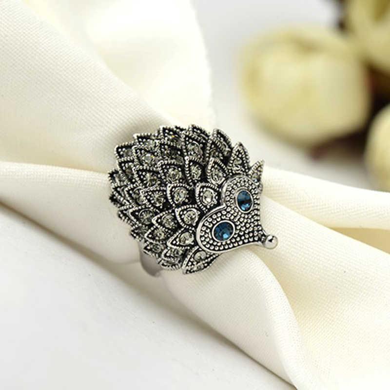 Нео готическое панк кольцо Винтажные Ювелирные изделия черный Ежик женское кольцо со стразами для рук палец кольца животных