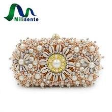 Frauen Luxus Perlen Perle Tag Kupplungen Kristall Abend Messenger Taschen Charming Design Party Hochzeit Geldbörse Dame Schulter Beige
