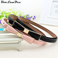 BooLawDee Miss and lady soft thin belt with bow decorated candy color PU leather female fashion simple small waist chain 8B008