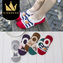 KingDeng Ankle Ladies Cartoon Harajuku Kawaii Socks Invisible Boat Sock No Show Funny Cute Moomin Korean Style Fashion Design