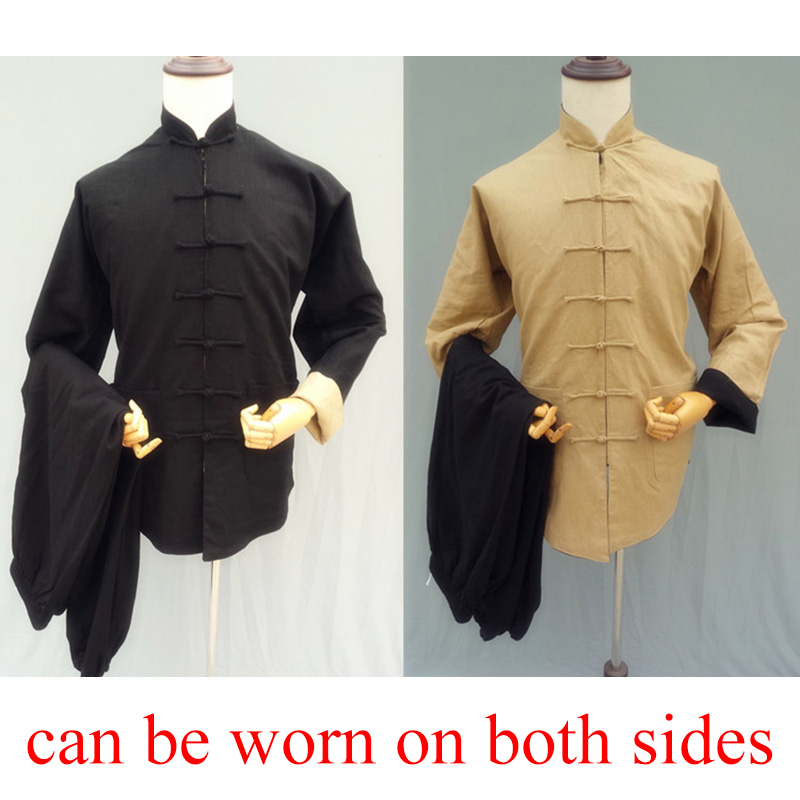 Reversible long sleeve tai chi clothing uniforms linen wushu clothes both sides can  wear  performance wear