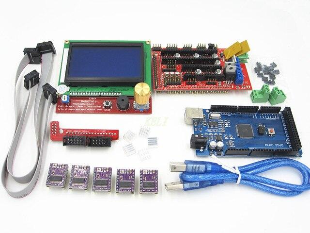 Kit de Impressora 3D 1 pcs Mega 2560 R3 + 1 pcs RAMPAS 1.4 controlador + 5 pcs DRV8825 Stepper Motor Drive + 1 pcs LCD 12864 controlador