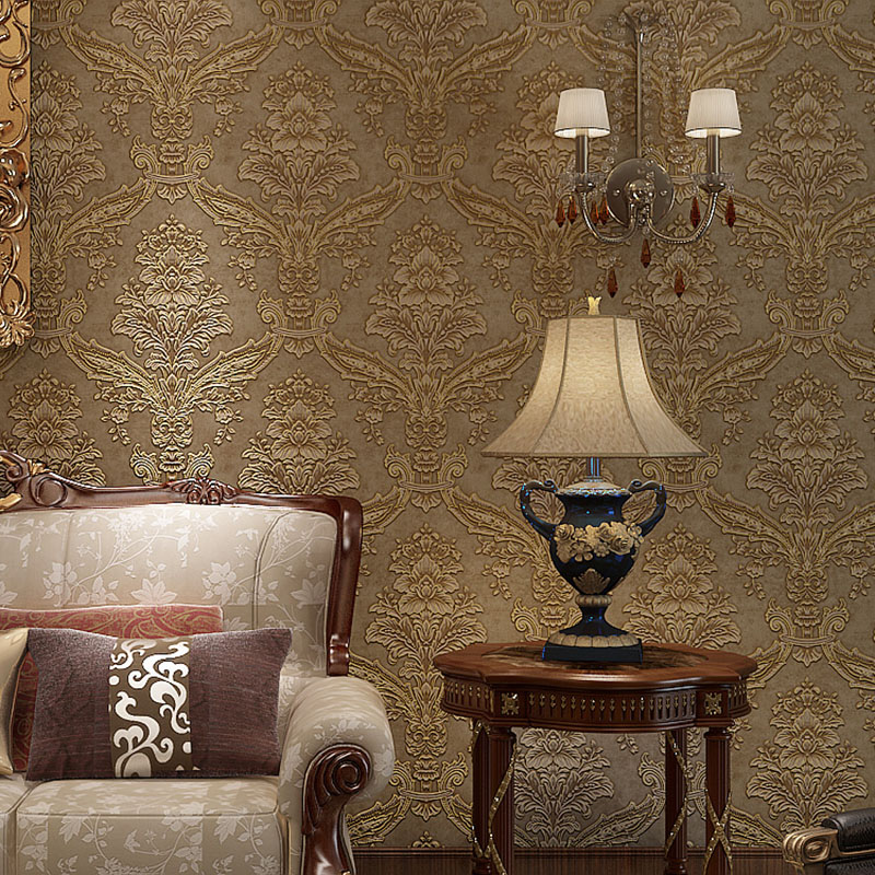 Fashion Wallpaper Pattern European 3D Floral TV Background Wall Paper Roll Non Woven Damask Embossed Wallpapers Flower for Walls