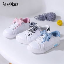 2019 Elegant Stripes Bowknot Girl Shoes for Kids Student White Flat Heel School High Quality Leather C03053