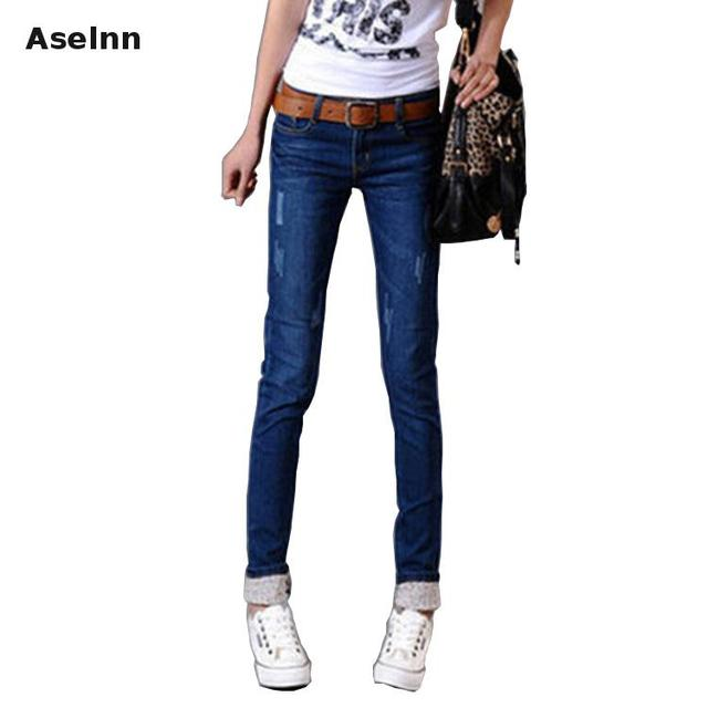 2017 Nova Moda Primavera Mulheres Holes Ripped Jeans Slim Senhoras Casuais Longo calças de Brim Sexy Skinny Calças Lápis Plus Size