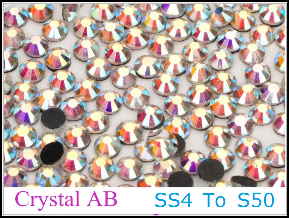 Good Quality SS4 to SS50 Crystal AB DMC Hotfix Rhinestone 1.5mm to 9.5mm Glass Strass Hot Fix Iron On Rhinestones Flatback