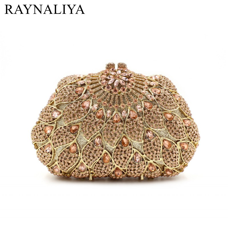 Evening Bags Women's Luxury Gold Crystal Diamond Day Clutches Handbags Bride Wedding Party Purse New Designer SMYZH-E0322 03 red gold bride wedding hair tiaras ancient chinese empress hat bride hair piece