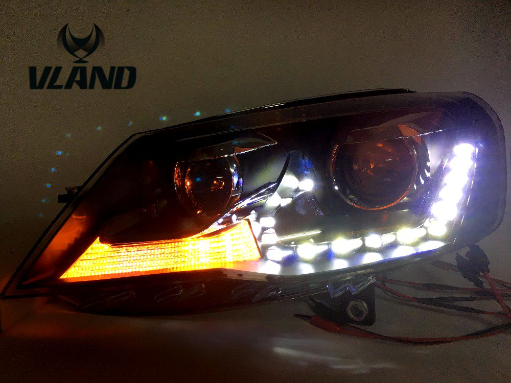 VLAND manufacturer for Car Head Lamp for BORA 2013 2014 2015 LED Headlight with BI HID Projector Lens Xenon DRL