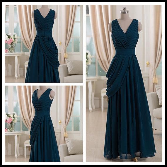 Cheap Long Chiffon Bridesmaid Dresses Sleeveless Hunter Green Wedding Party Gowns New Design