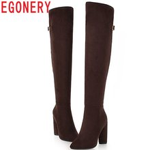 EGONERY European queen style autumn winter warm sexy 10.5 cm super high woman shoes zipper flock over the knee high long boots(China)